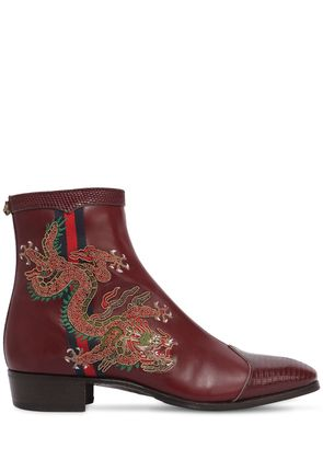 PLATA EMBROIDERED LEATHER ANKLE BOOTS