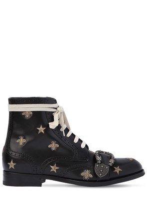 QUEERCORE EMBROIDERED LACE-UP BOOTS