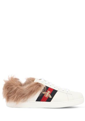 NEW ACE FUR LINED LEATHER SNEAKERS