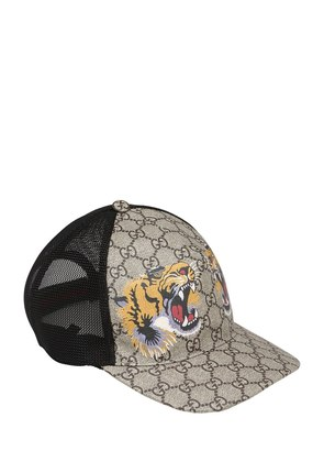 TIGER COATED GG CANVAS BASEBALL HAT