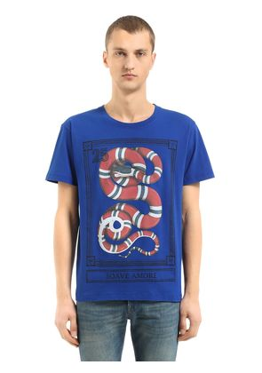 SNAKE PRINTED COTTON JERSEY T-SHIRT
