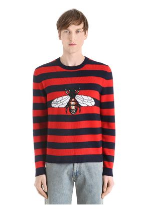STRIPED BEE WOOL KNIT JACQUARD SWEATER