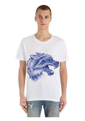 PEN EFFECT WOLF PRINTED JERSEY T-SHIRT