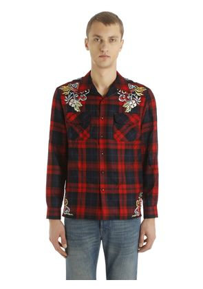EMBROIDERED CHECKED WOOL SHIRT