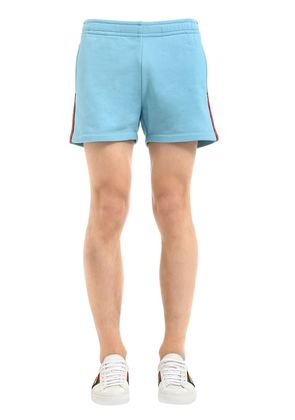 HEAVY FELTED COTTON JERSEY SHORTS