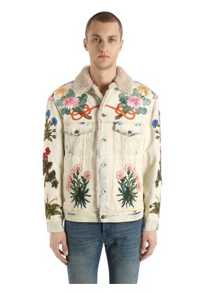 EMBROIDERED PATCH SHEARLING DENIM JACKET