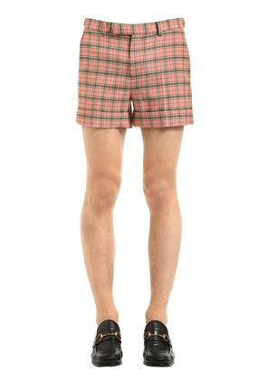 CHECKED WOOL BLEND SHORTS