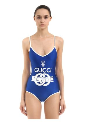 LOGO PRINTED SHINY LYCRA SWIMSUIT