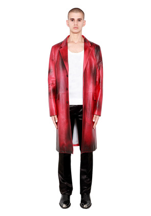 PAINTED SHINY LEATHER TAILORED COAT