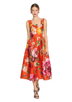 ROSES PRINTED SATIN ORGANZA DRESS