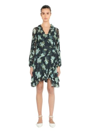 RUFFLED FLORAL PRINT SILK DRESS