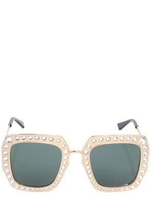 SQUARE CRYSTALS & METAL FRAME SUNGLASSES