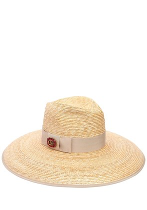 GG CRYSTAL BUCKLE STRAW HAT