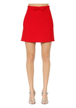 WOOL CREPE A-LINE SKIRT W/ BOW