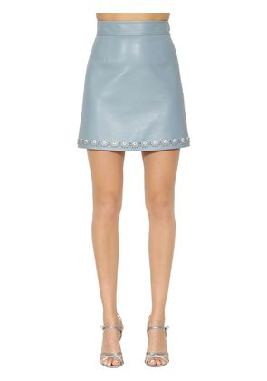 FLOWERS STUDDED LEATHER A-LINE SKIRT