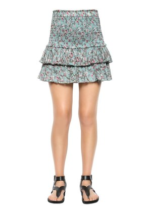 PRINTED EMBROIDERED COTTON VOILE SKIRT