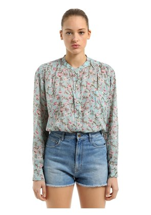 PRINTED EMBROIDERED COTTON VOILE BLOUSE