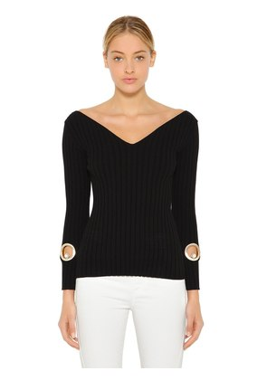 SLIM STRETCH RIB KNIT SWEATER W/ CUTOUTS