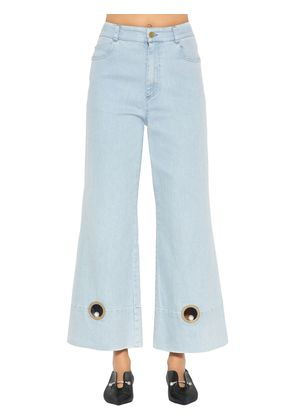 WIDE LEG COTTON DENIM JEANS W/ CUTOUTS