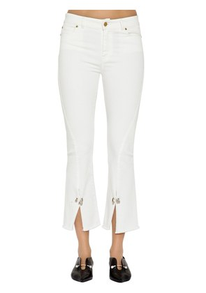 PIERCED CROPPED STRETCH COTTON DENIM