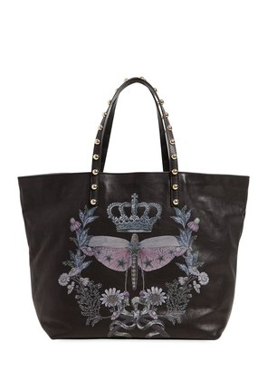 DRAGONFLY PRINTED LEATHER TOTE BAG