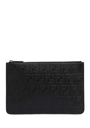 LOGO EMBOSSED LEATHER POUCH