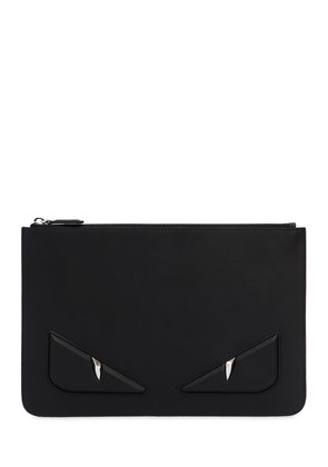 EMBOSSED MONSTER SMOOTH LEATHER POUCH