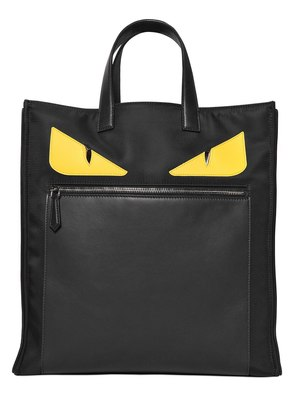 MONSTER SMOOTH LEATHER & NYLON TOTE BAG