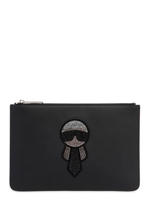 CRYSTALS EMBELLISHED KARL LEATHER POUCH