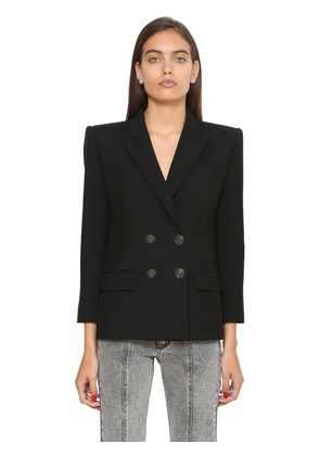 DOUBLE BREASTED WOOL & MOHAIR BLAZER