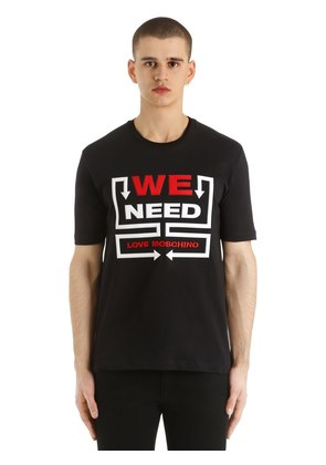 3D WE NEED PRINTED COTTON JERSEY T-SHIRT