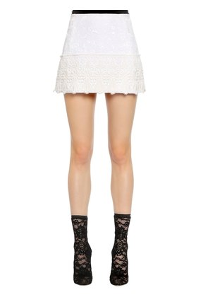BROCADE MINI SKIRT W/ LACE TRIM