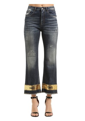 SEQUINED HEM WASHED COTTON DENIM JEANS