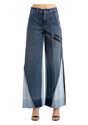 PATCHWORK LOGO WIDE LEG DENIM JEANS