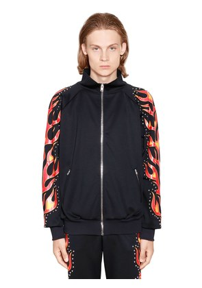 FLAMES PRINTED STUDDED TRACK JACKET