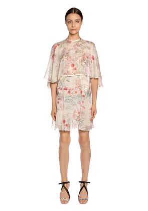 FLORAL PRINTED SILK GEORGETTE CAPE DRESS