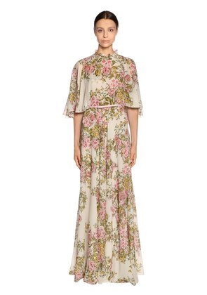FLORAL PRINT GEORGETTE LONG CAPE DRESS