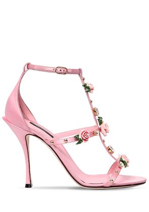 105MM KEIRA EMBELLISHED SATIN SANDALS