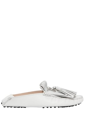 GOMMINO FRINGED LEATHER MULE LOAFERS