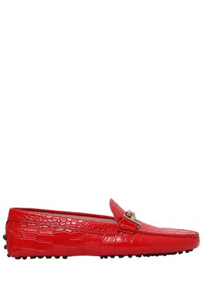 GOMMINO DOUBLE T CROC EMBOSSED LOAFERS