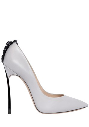 120MM BLADE TULLE DETAIL LEATHER PUMPS