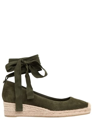 40MM HEATHER SUEDE LACE-UP ESPADRILLES