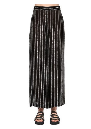SEQUINED STRIPES WIDE LEG PANTS