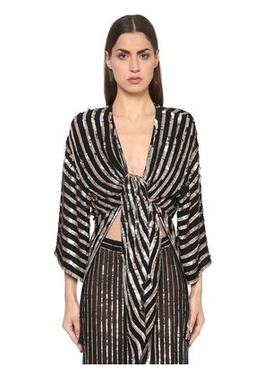 SEQUINED STRIPES KIMONO TOP