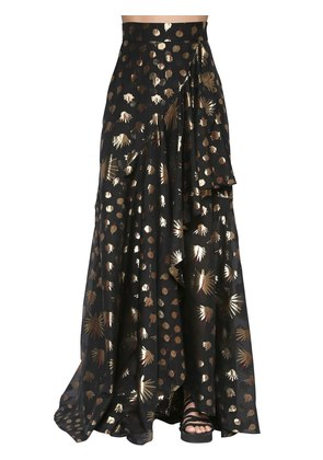 SILK BLEND LAMÉ LONG SKIRT