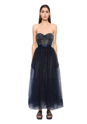 SILK SATIN & SEQUINED TULLE DRESS
