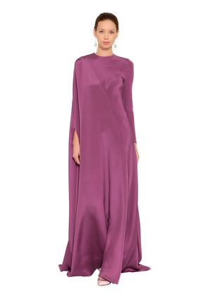 DRAPED SILK LONG DRESS