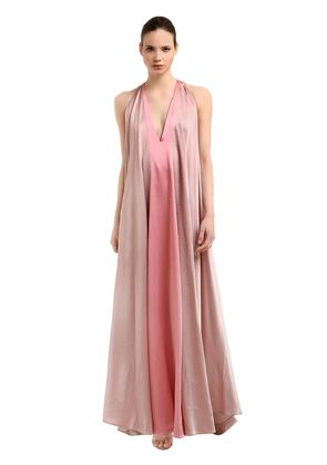 HAMMERED SATIN LONG DRESS