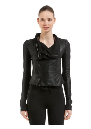 LAYERED LEATHER & GEORGETTE BIKER JACKET