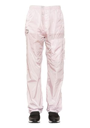 NYLON TRACK PANTS WITH LOGO PATCH